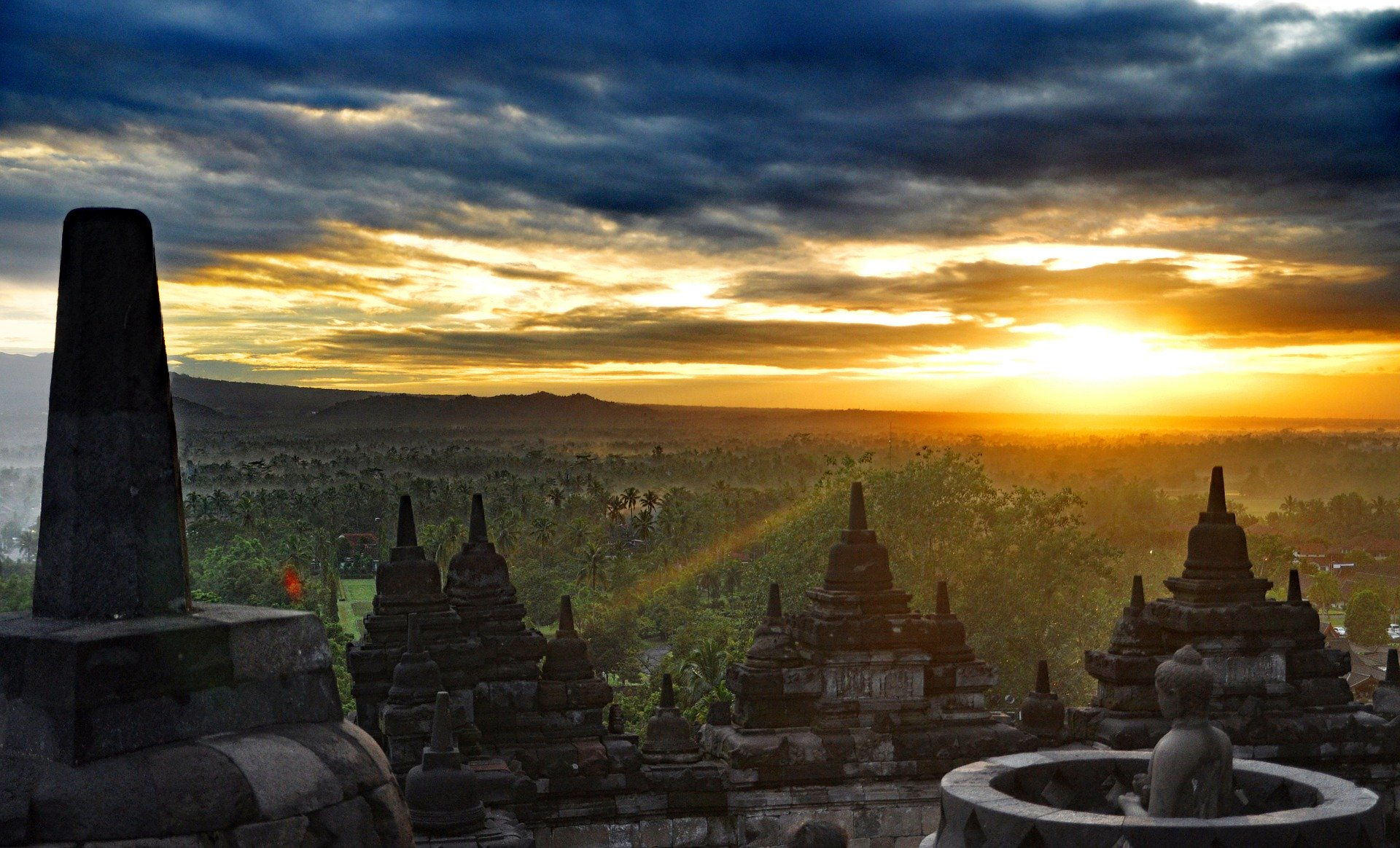 sunrise in borobudur temple
